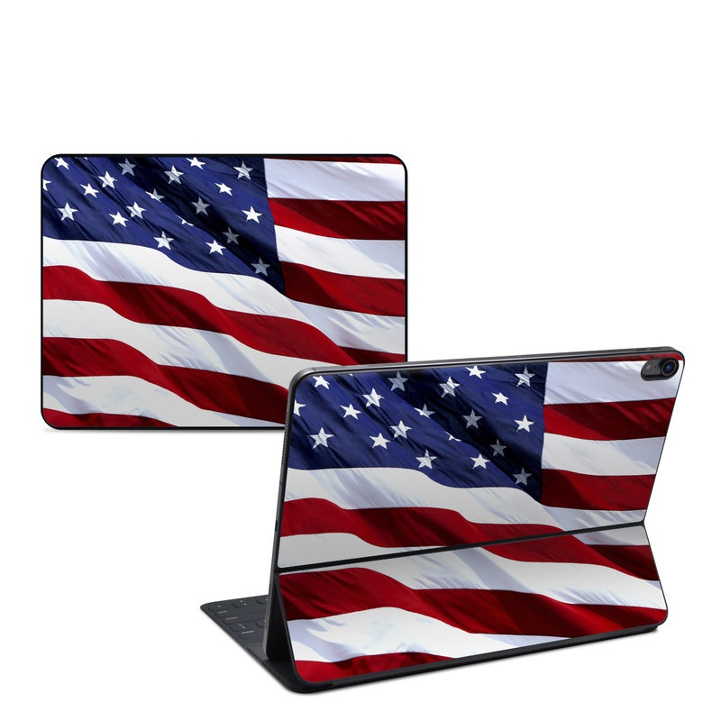 iPad Pro 12.9-inch Smart Keyboard Folio Skin design of Flag, Flag of the united states, Flag Day (USA), Veterans day, Memorial day, Holiday, Independence day, Event with red, blue, white colors