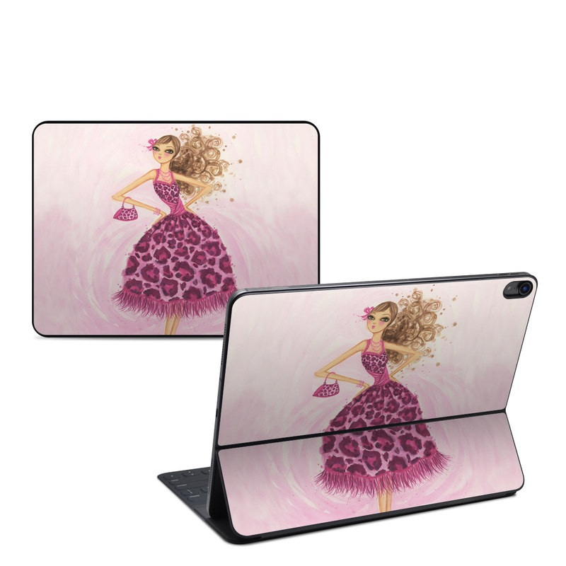 iPad Pro 12.9-inch 3rd Gen Smart Keyboard Folio Skin design of Pink, Doll, Dress, Fashion illustration, Barbie, Fashion design, Illustration, Gown, Costume design, Toy with pink, gray, red, purple, green colors