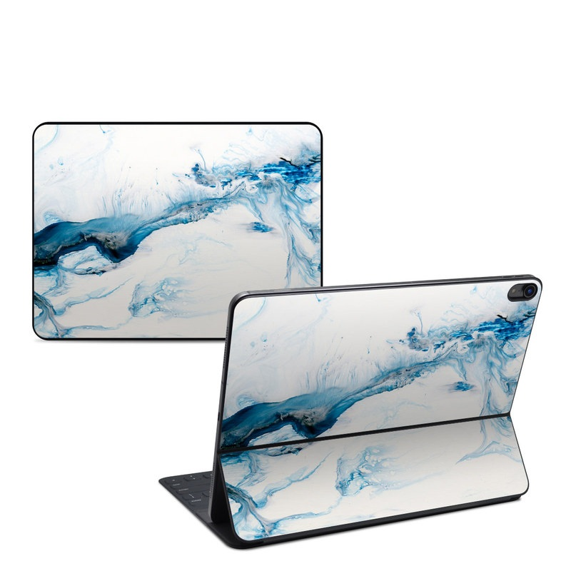 iPad Pro 12.9-inch 3rd Gen Smart Keyboard Folio Skin design of Glacial landform, Blue, Water, Glacier, Sky, Arctic, Ice cap, Watercolor paint, Drawing, Art with white, blue, black colors