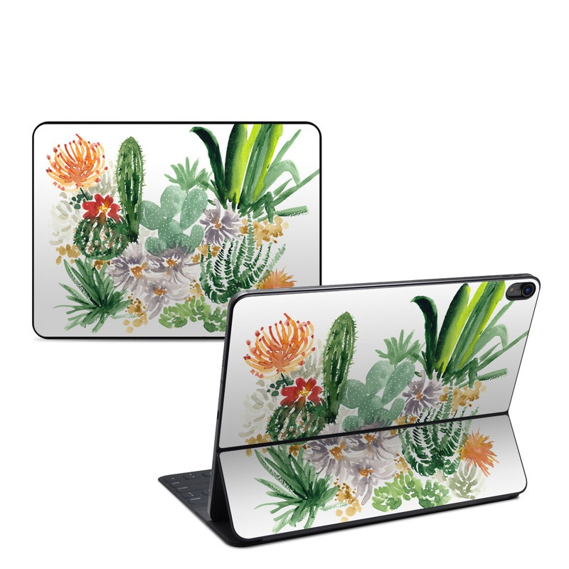 iPad Pro 12.9-inch 3rd Gen Smart Keyboard Folio Skin design of Cactus, Plant, Flower, Botany, Leaf, Illustration, Pine, Grass, Succulent plant, Branch with white, green, red, orange colors