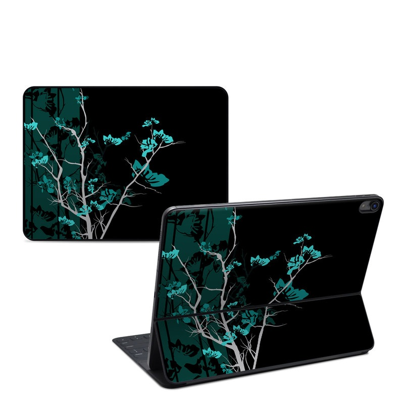 iPad Pro 12.9-inch 3rd Gen Smart Keyboard Folio Skin design of Branch, Black, Blue, Green, Turquoise, Teal, Tree, Plant, Graphic design, Twig with black, blue, gray colors