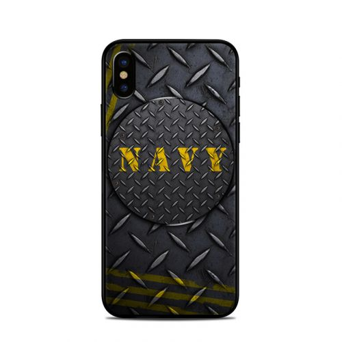 Navy Diamond Plate iPhone XS Skin