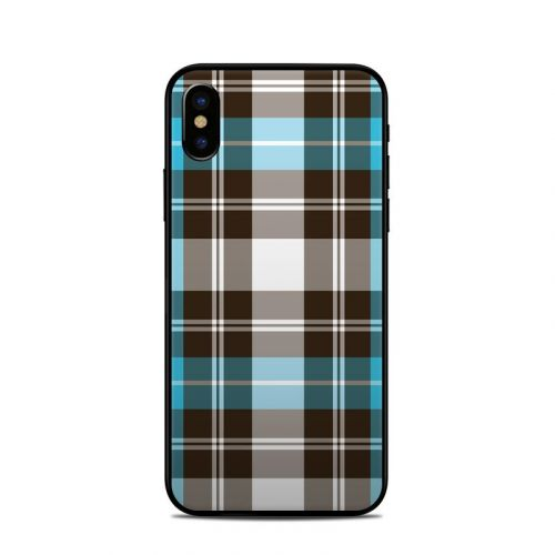 Turquoise Plaid iPhone X Skin