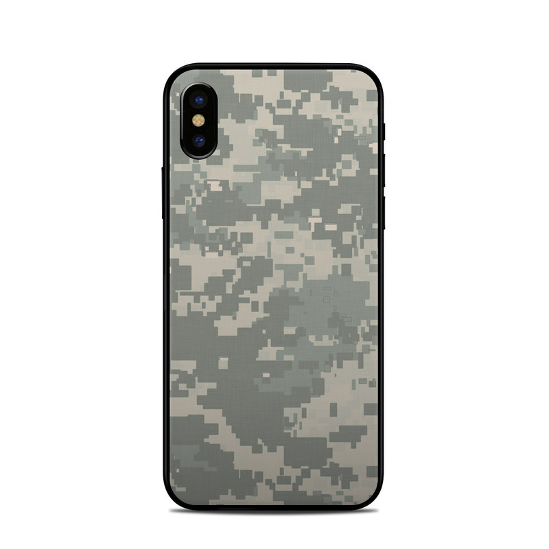 iPhone XS Skin design of Military camouflage, Green, Pattern, Uniform, Camouflage, Design, Wallpaper with gray, green colors