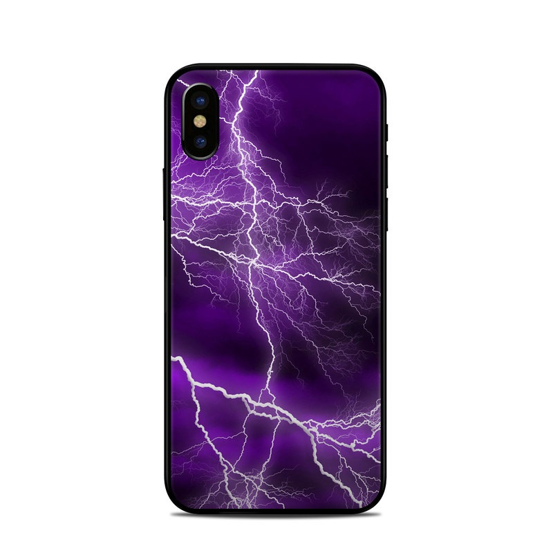 iPhone XS Skin design of Thunder, Lightning, Thunderstorm, Sky, Nature, Purple, Violet, Atmosphere, Storm, Electric blue with purple, black, white colors