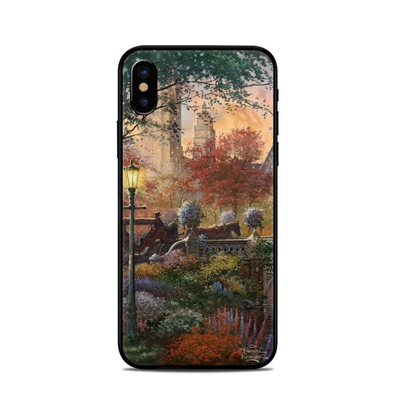 iPhone XS Skin design of Painting, Nature, Watercolor paint, Natural landscape, Art, Bank, Landscape, Acrylic paint, Waterway, Sky with red, green, yellow, orange, gray, blue colors