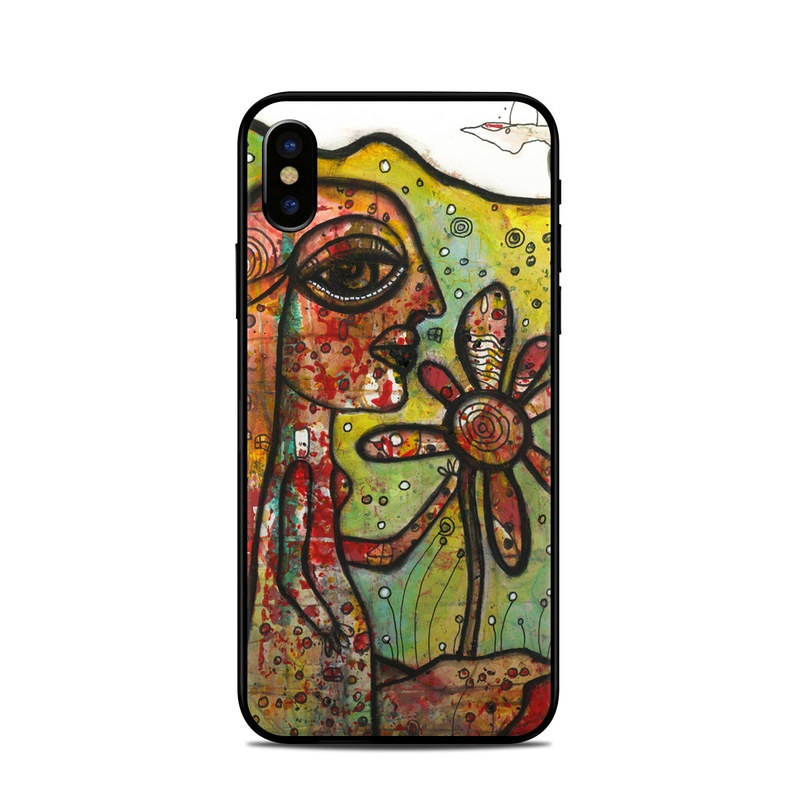 iPhone XS Skin design of Modern art, Art, Painting, Acrylic paint, Psychedelic art, Visual arts, Watercolor paint, Illustration, Paint, Style with green, black, red, white, orange, yellow colors