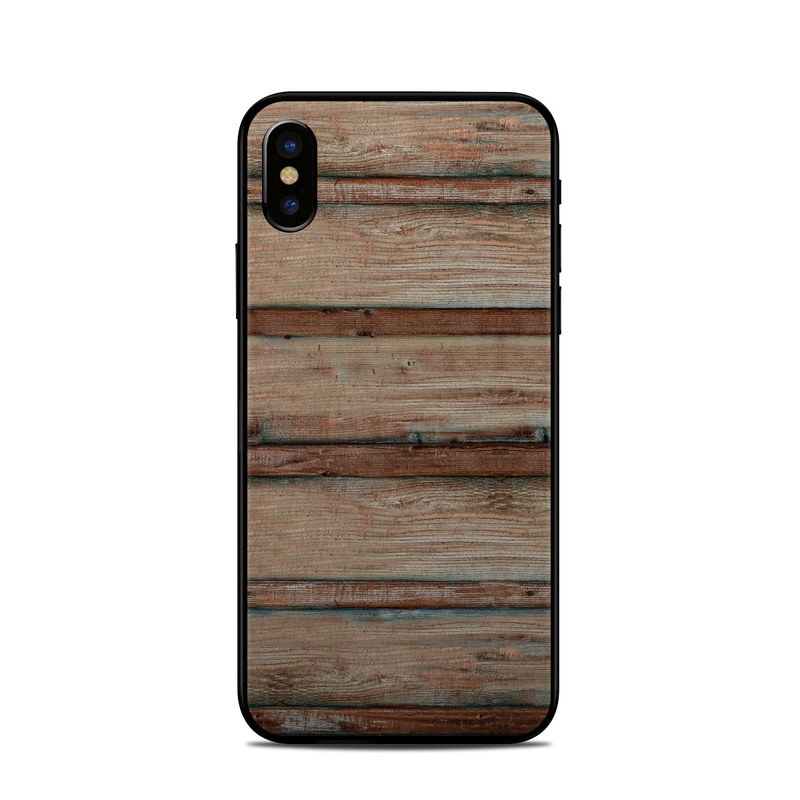 iPhone XS Skin design of Wood, Wood stain, Plank, Lumber, Hardwood, Plywood, Pattern, Siding with brown colors