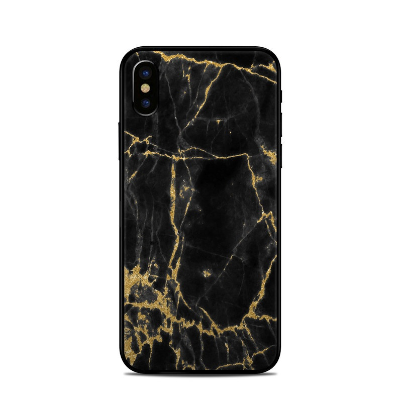 iPhone XS Skin design of Black, Yellow, Water, Brown, Branch, Leaf, Rock, Tree, Marble, Sky with black, yellow colors