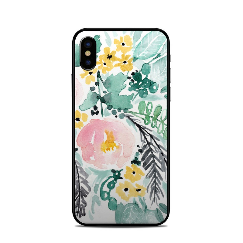 iPhone XS Skin design of Branch, Clip art, Watercolor paint, Flower, Leaf, Botany, Plant, Illustration, Design, Graphics with green, pink, red, orange, yellow colors