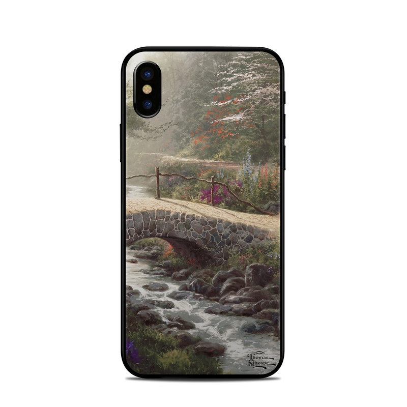 iPhone XS Skin design of Nature, Natural landscape, Painting, Tree, Atmospheric phenomenon, Landscape, Sky, Leaf, Spring, Botany with brown, red, green, purple, pink colors