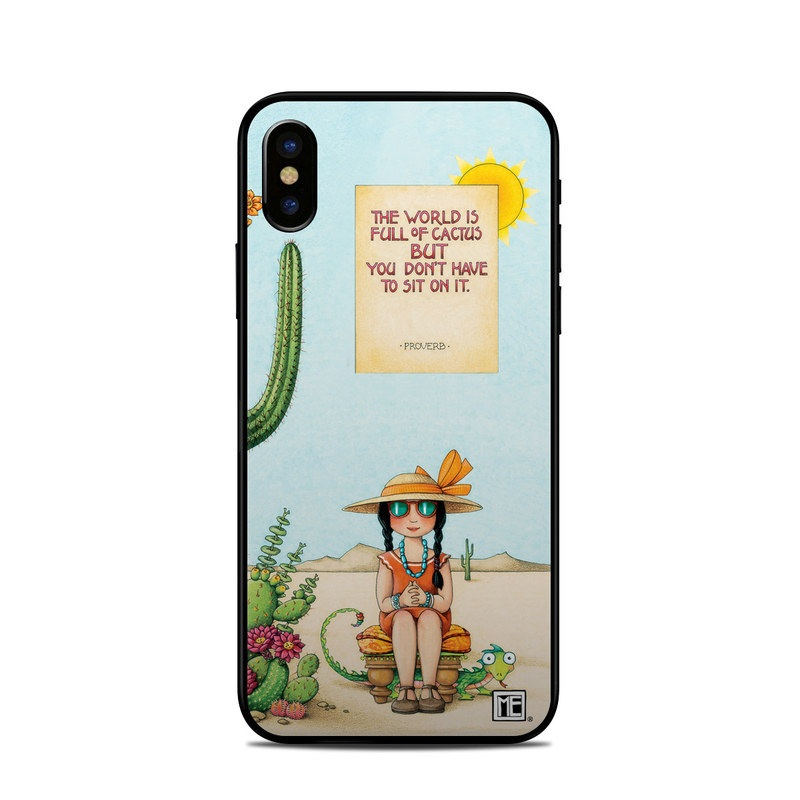 iPhone XS Skin design of Cartoon, Cactus, Illustration, Animated cartoon, Plant, Vegetable, Fictional character, Art with green, yellow, pink, orange, brown colors