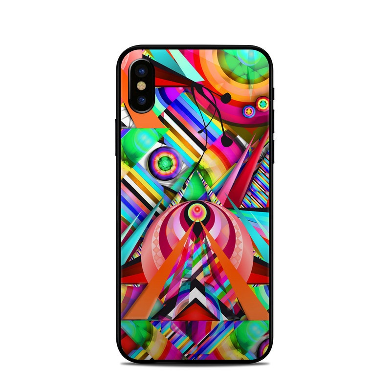 iPhone XS Skin design of Psychedelic art, Pattern, Design, Graphic design, Colorfulness, Visual arts, Circle, Art with red, pink, green, yellow, orange colors