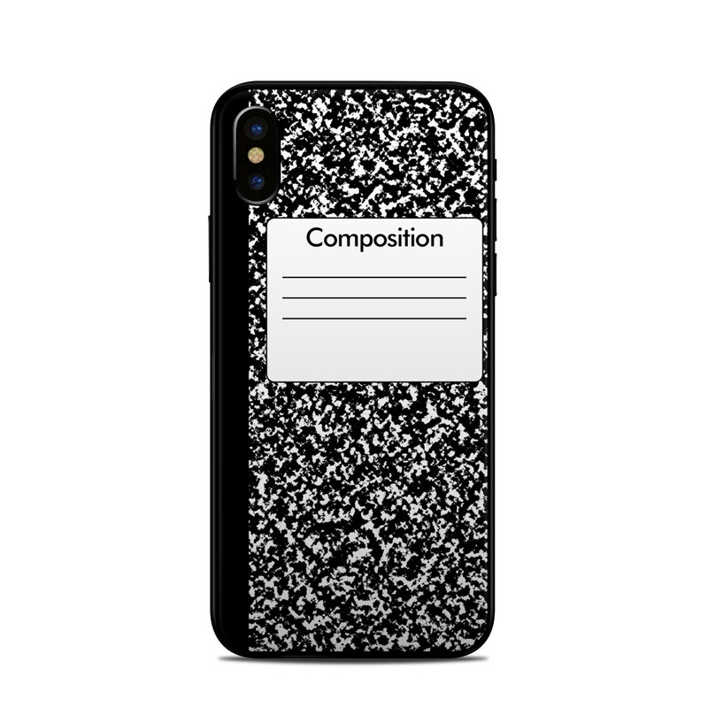 iPhone XS Skin design of Text, Font, Line, Pattern, Black-and-white, Illustration with black, gray, white colors
