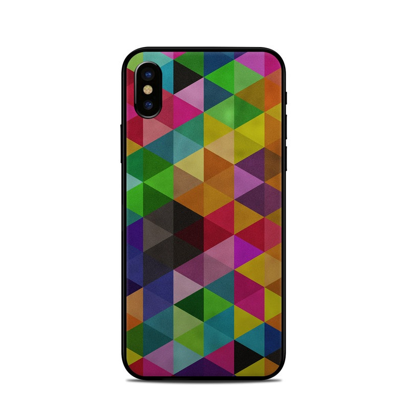 iPhone XS Skin design of Pattern, Orange, Purple, Violet, Triangle, Magenta, Line, Design, Psychedelic art, Colorfulness with black, red, green, blue colors