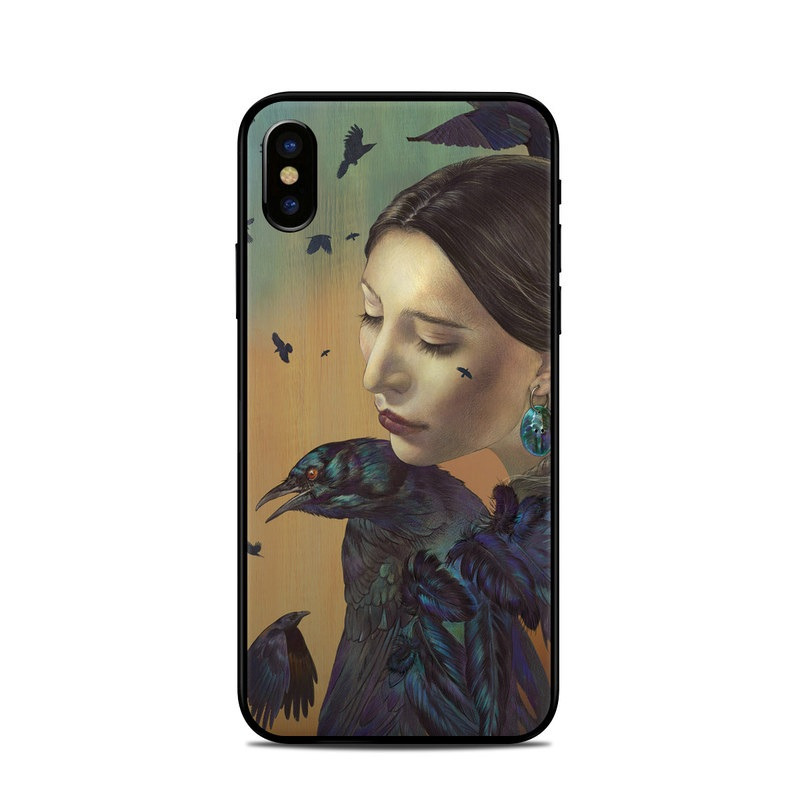 iPhone XS Skin design of Feather, Lady, Beauty, Bird, Painting, Illustration, Cheek, Portrait, raven, Watercolor paint with black, green, orange, yellow, purple colors