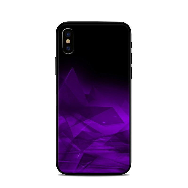 iPhone XS Skin design of Violet, Purple, Pink, Magenta, Blue, Light, Red, Lilac, Petal, Electric blue with black, purple colors