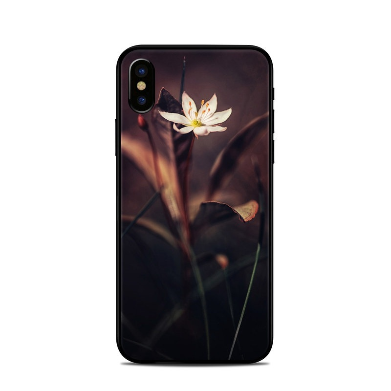 iPhone XS Skin design of Flower, Yellow, Light, Plant, Sky, Still life photography, Wildflower, Petal, Darkness, Spring with black, red colors