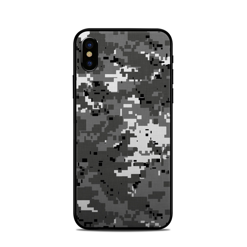 iPhone XS Skin design of Military camouflage, Pattern, Camouflage, Design, Uniform, Metal, Black-and-white with black, gray colors