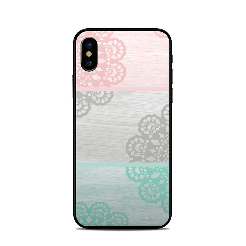 iPhone XS Skin design of Aqua, Pattern, Pink, Line, Design, Textile, Visual arts, Wallpaper, Floral design, Motif with white, black, pink, blue colors