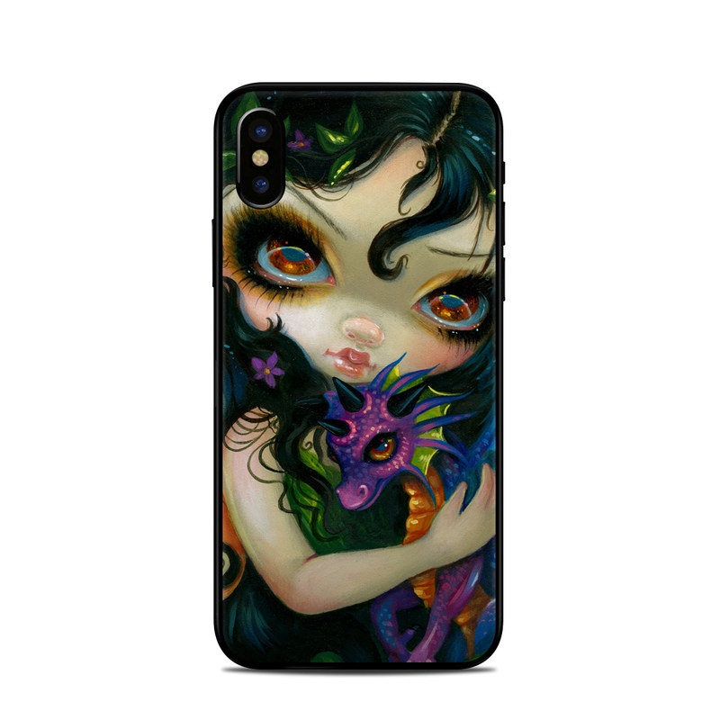 iPhone XS Skin design of Face, Head, Illustration, Art, Fictional character, Painting, Visual arts, Wing, Psychedelic art with black, green, gray, red, blue colors