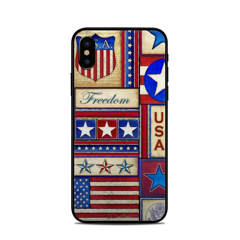 iPhone XS Skin design of Flag, Pattern, Flag of the united states, Flag Day (USA), Games with red, gray, blue, black, pink, green colors