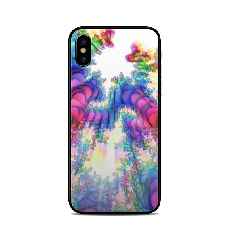 iPhone XS Skin design of Fractal art, Psychedelic art, Purple, Colorfulness, Art, Graphic design, Pattern, Graphics, Artwork, Symmetry with gray, white, blue, purple, pink colors