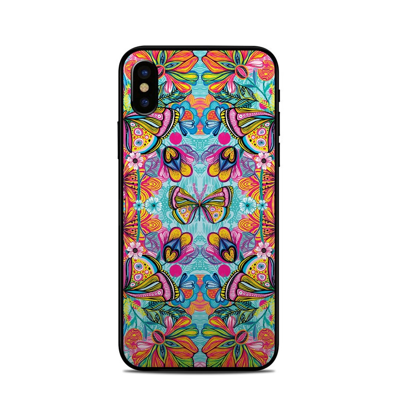 iPhone XS Skin design of Pattern, Design, Textile, Psychedelic art, Visual arts, Symmetry, Art, Motif with blue, pink, green, yellow, orange, purple colors