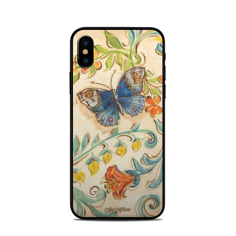 iPhone XS Skin design of Butterfly, Moths and butterflies, Insect, Pollinator, Plant, Pattern, Watercolor paint, Wildflower, Visual arts, Brush-footed butterfly with gray, pink, green, red, orange, blue colors