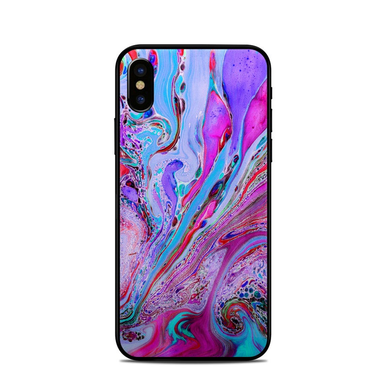 iPhone XS Skin design of Pink, Purple, Pattern, Design, Visual arts, Art, Psychedelic art, Magenta, Acrylic paint, Colorfulness with pink, purple, blue, green colors