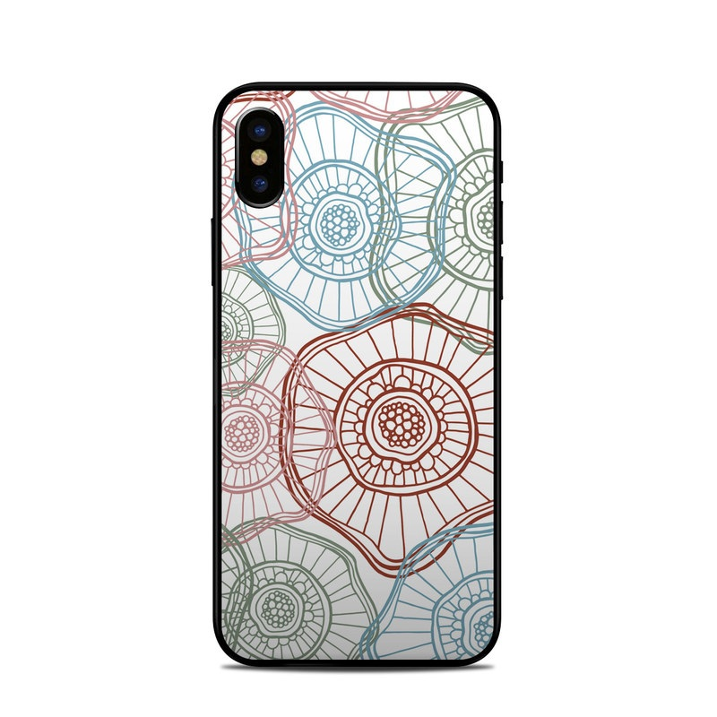 iPhone XS Skin design of Pattern, Line, Circle, Line art, Design, Textile, Visual arts, Motif, Drawing with gray, white, pink colors