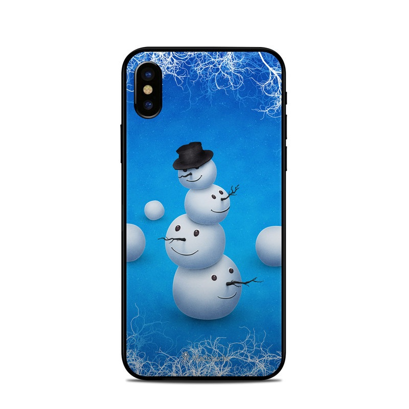 iPhone XS Skin design of Snowman, Snow, Sky, Winter with blue, white, black colors