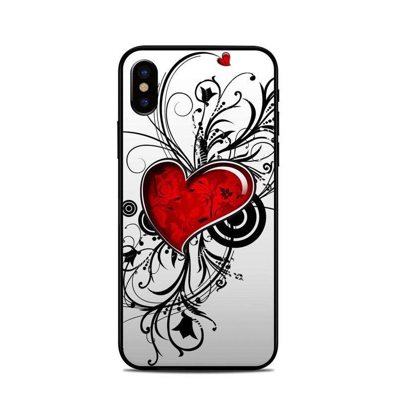 iPhone XS Skin design of Heart, Line art, Love, Clip art, Plant, Graphic design, Illustration with white, gray, black, red colors