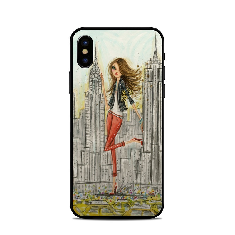 iPhone XS Skin design of Human settlement, Fashion illustration, Illustration, City, Art, Architecture, Drawing, Fictional character with gray, green, black, red colors
