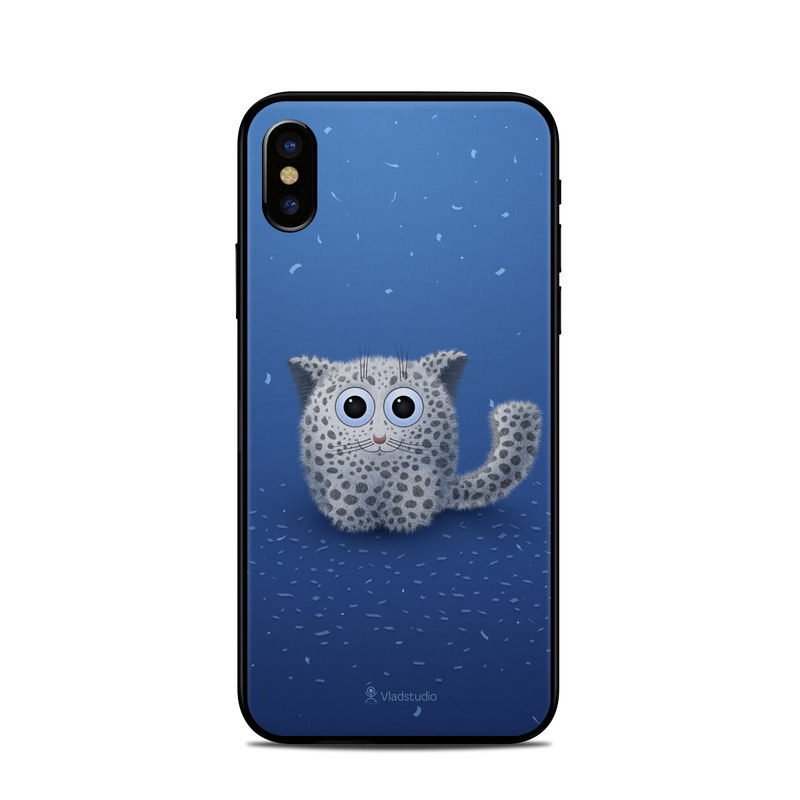 iPhone XS Skin design of Owl, Snowy owl, Blue, Bird of prey, Sky, Bird, Organism, Snout, Space with blue, gray, black colors