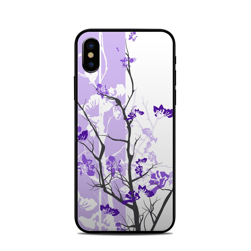 iPhone XS Skin design of Branch, Purple, Violet, Lilac, Lavender, Plant, Twig, Flower, Tree, Wildflower with white, purple, gray, pink, black colors