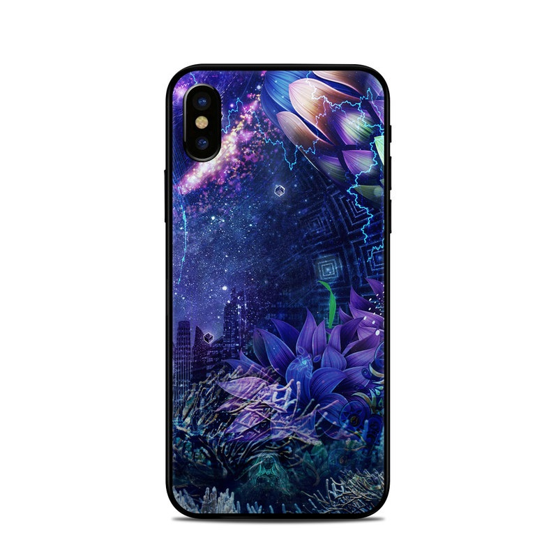 iPhone XS Skin design of Blue, Purple, Violet, Lavender, Majorelle blue, Psychedelic art, Electric blue, Organism, Art, Design with blue, green, purple, red, pink colors