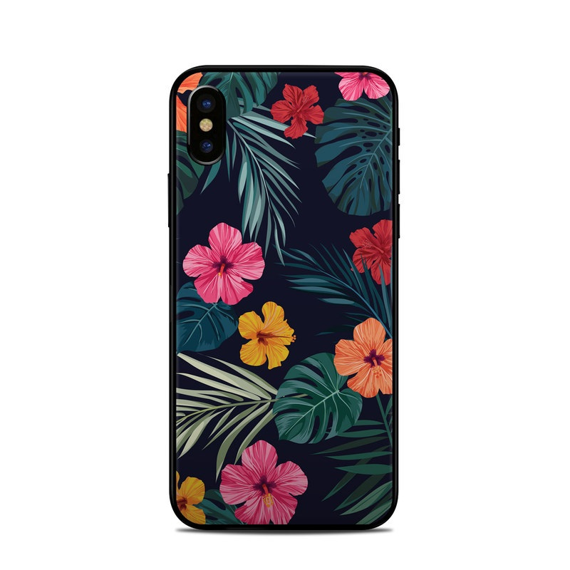 iPhone XS Skin design of Hawaiian hibiscus, Flower, Pattern, Plant, Leaf, Floral design, Botany, Design, Hibiscus, Petal with black, green, red, pink, orange, yellow, white colors