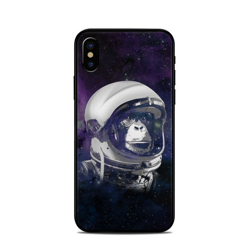 iPhone XS Skin design of Helmet, Astronaut, Personal protective equipment, Illustration, Space, Outer space, Headgear, Fictional character, Sports gear, Football gear with black, gray, blue, white colors