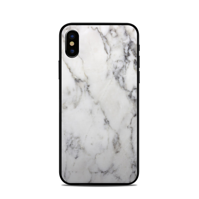 iPhone XS Skin design of White, Geological phenomenon, Marble, Black-and-white, Freezing with white, black, gray colors