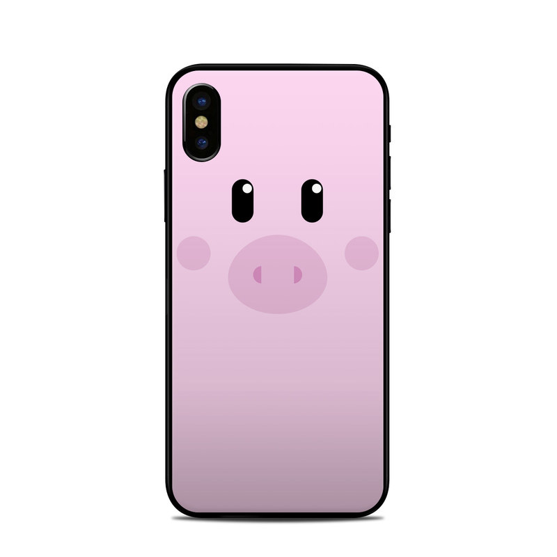 iPhone XS Skin design of Pink, Cartoon, Violet, Nose, Purple, Snout, Suidae, Material property, Illustration, Animation with pink, black, white colors