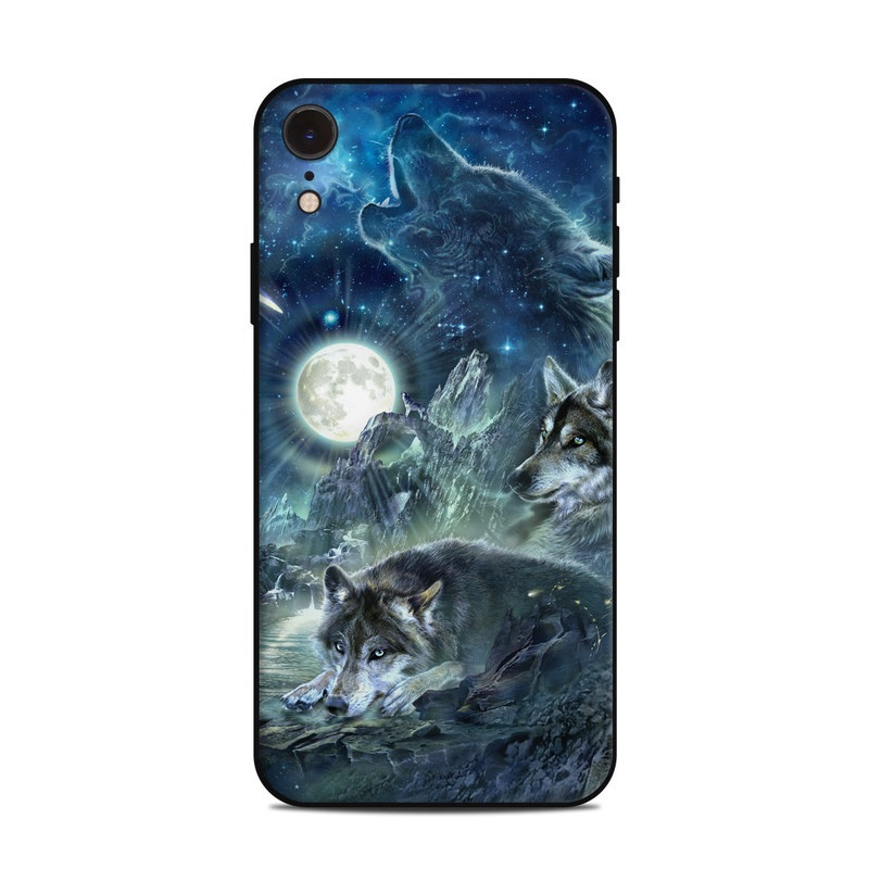 iPhone XR Skin design of Cg artwork, Fictional character, Darkness, Werewolf, Illustration, Wolf, Mythical creature, Graphic design, Dragon, Mythology with black, blue, gray, white colors