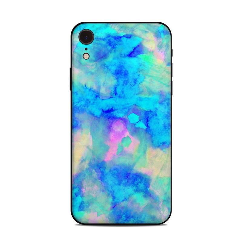 iPhone XR Skin design of Blue, Turquoise, Aqua, Pattern, Dye, Design, Sky, Electric blue, Art, Watercolor paint with blue, purple colors