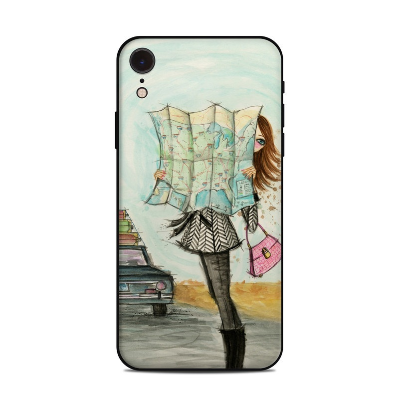 iPhone XR Skin design of Fashion illustration, Sketch, Watercolor paint, Illustration, Drawing, Art, Footwear, Vehicle, Painting, Fashion design with blue, black, gray, white, pink, brown, green, orange, yellow colors