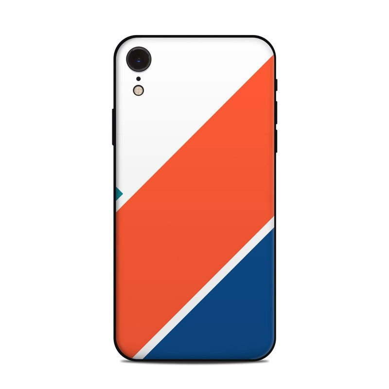 iPhone XR Skin design of Blue, Orange, Line, Turquoise, Flag, Electric blue, Pattern, Parallel with white, blue, red, orange, green colors