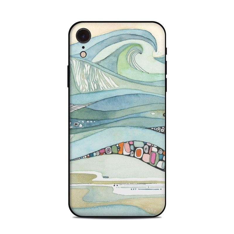 iPhone XR Skin design of Line, Illustration, Art with blue, green, orange, pink, black, white, yellow colors