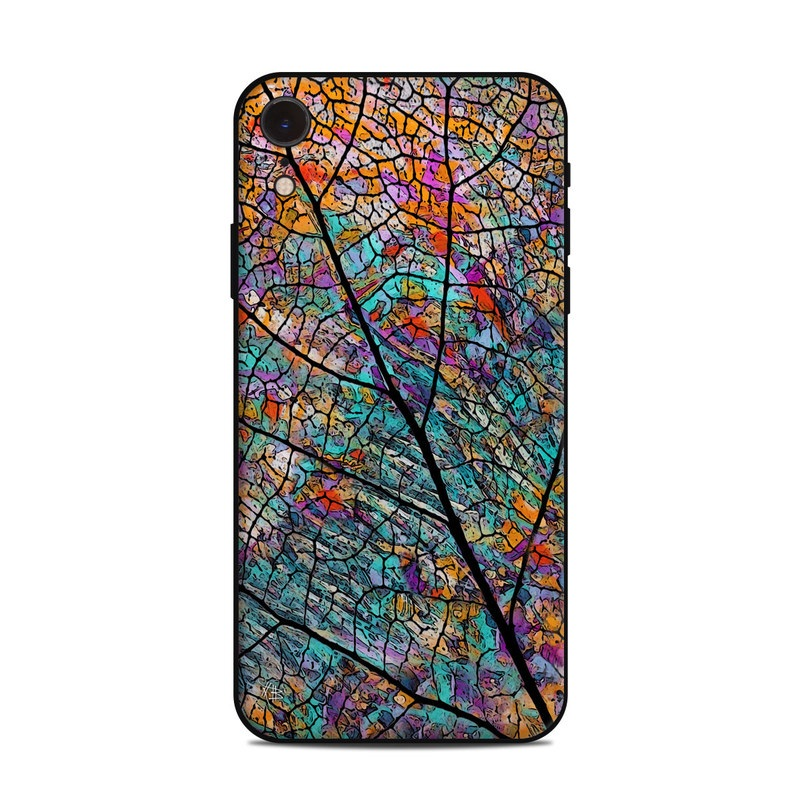 iPhone XR Skin design of Pattern, Colorfulness, Line, Branch, Tree, Leaf, Design, Visual arts, Glass, Plant with black, gray, red, blue, green colors