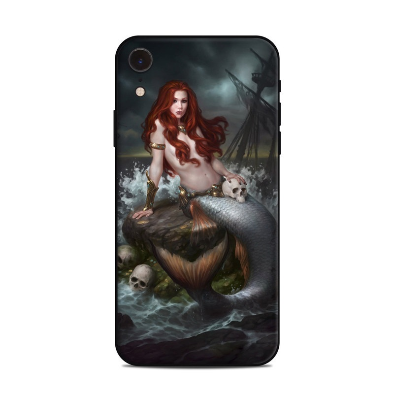 iPhone XR Skin design of Mermaid, Cg artwork, Illustration, Fictional character, Mythology, Mythical creature, Art, Long hair, Woman warrior, Sitting with black, brown, red, yellow, white, gray colors