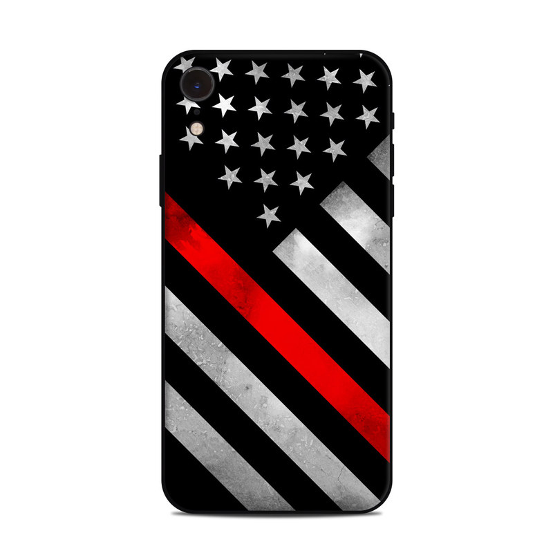 iPhone XR Skin design of Flag of the united states, Flag, Line, Black-and-white, Pattern, Flag Day (USA), Veterans day, Independence day, Memorial day with black, white, gray, red colors