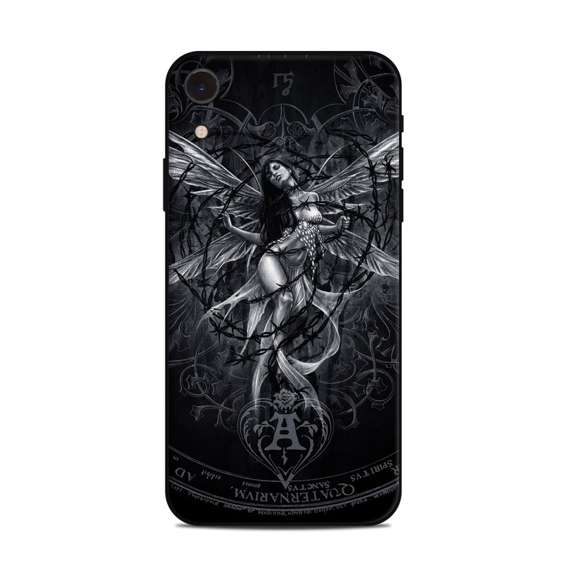 iPhone XR Skin design of Illustration, Graphic design, Darkness, Fictional character, Black-and-white, Pattern, Graphics, Mythical creature, Circle, Wing with black, white colors